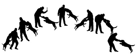 Vector silhouette of a man in defense practitioner dog. Vector