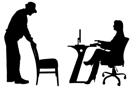 Vector silhouettes of people in office on white background.
