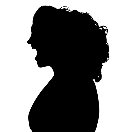 Vector silhouettes woman in profile on white background. Vector