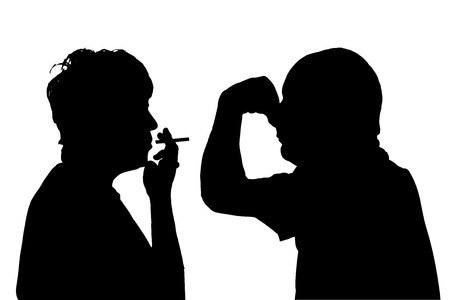 odors: Vector silhouette of people in different situations.
