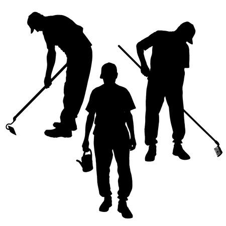 Vector silhouette of a man with garden tools. Vector