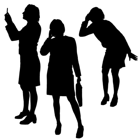 Vector silhouette of a woman with phone on a white background. Vector