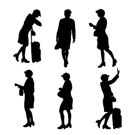 Vector silhouette of businesswoman on a white background. Vector