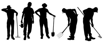 raking: Vector silhouette of a man with garden tools.