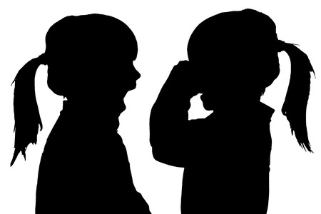 Vector silhouette of children in different situations. Vector