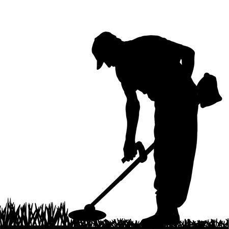 庭で働く男のベクトル シルエット。  イラスト・ベクター素材