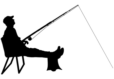 Vector silhouette of a man who fishes on a white background. Vector
