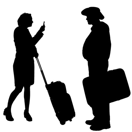 Vector silhouette of a people with a trunk on a white background. Vector