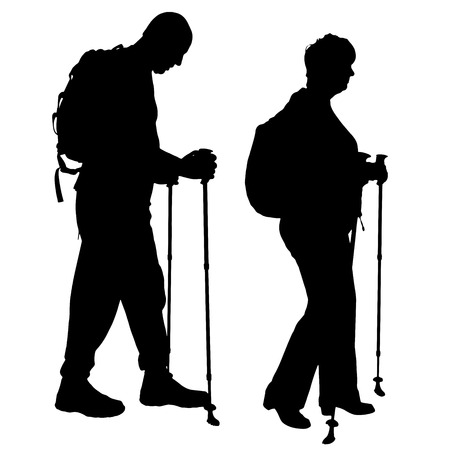 old couple walking: Vector silhouette of people with Nordic walking.