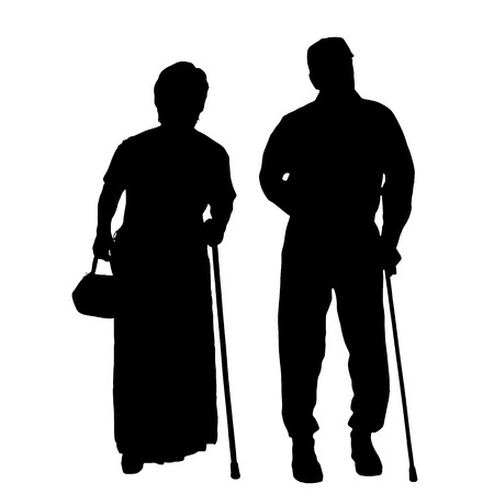 Vector silhouette of old people on a white background.  向量圖像