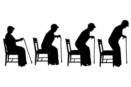 cane chair: Vector silhouette of old people on a white background.  Illustration