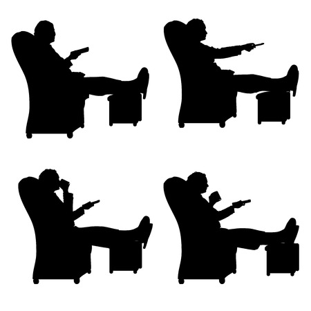 Vector silhouette of a people who is watching TV. Vector