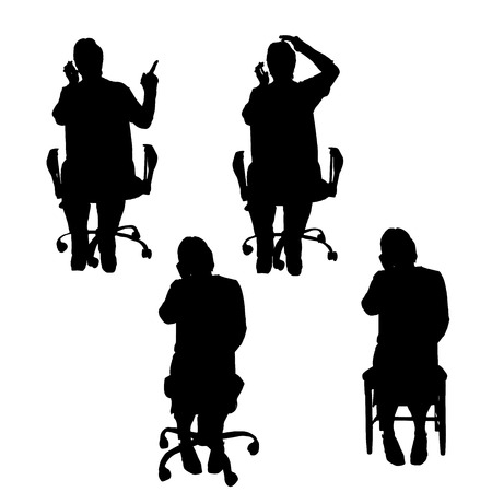 Vector silhouettes of people sitting on white background. Vector