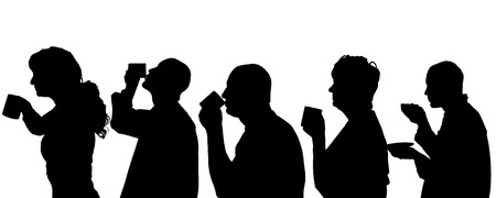 Vector silhouette of people profil on white background. Vector