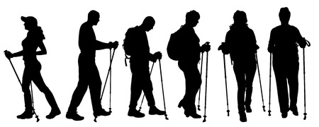 Vector silueta de las personas con marcha nórdica.
