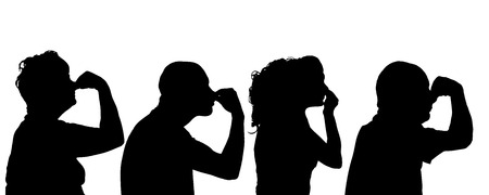 odors: Vector silhouette of people profil on white background.