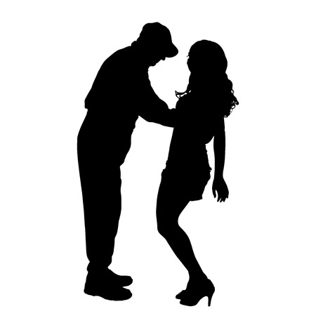 romantic sex: Vector silhouette of a man with a sexy woman on a white background. Illustration