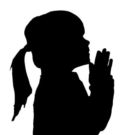 기도하는 소녀의 벡터 실루엣입니다. 일러스트