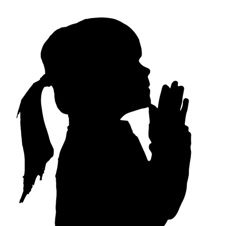 Vector silhouette of a little girl who prays.