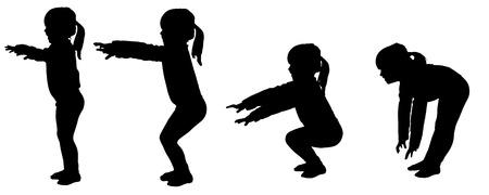 kleine meisjes: Vector silhouet van kleine meisjes die de praktijk.