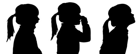 odors: Vector silhouette of girl in different situations.