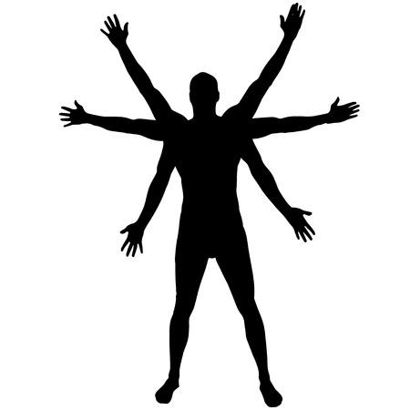 白い背景の上で男のベクトル シルエット。  イラスト・ベクター素材
