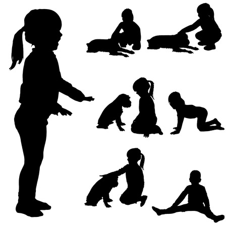 Vector silhouette of child on a white background. Vector