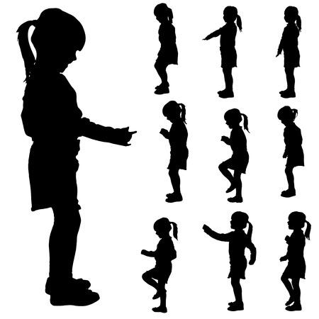 Vector silhouet van een klein meisje in verschillende situaties.