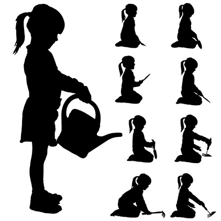 hoe: Vector silhouette of a little girl in different situations.