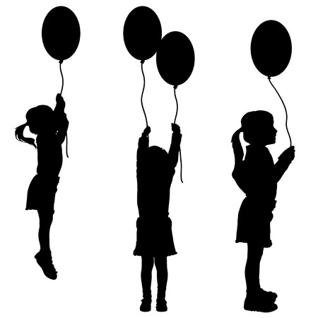 Vector silhouettes of girls with balloons on white background. Vector