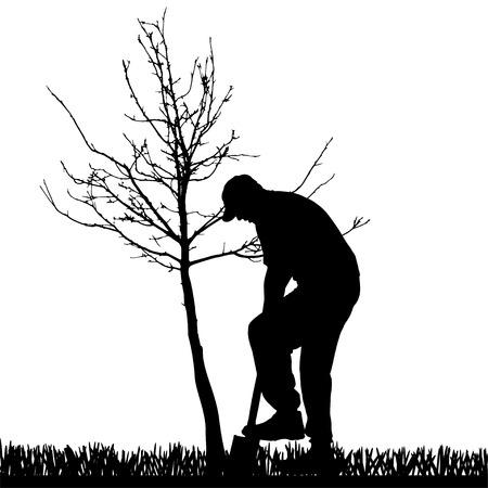 庭での作業人のベクトル シルエット。