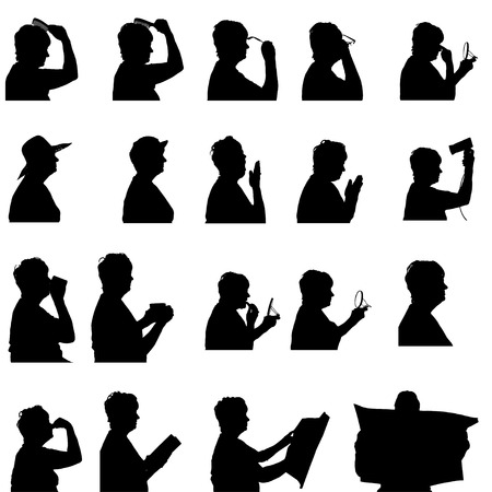 odors: Vector silhouette of woman in different situations.