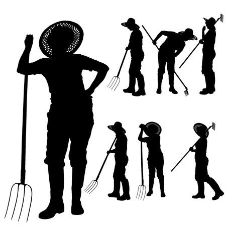 Vector silhouette of a gardener on white background.  Ilustração