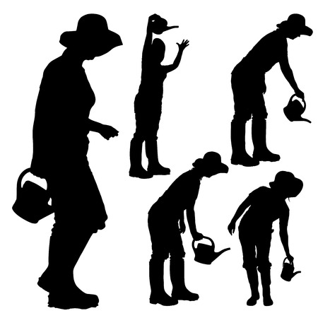 Vector silhouette of a gardener on white background.  向量圖像