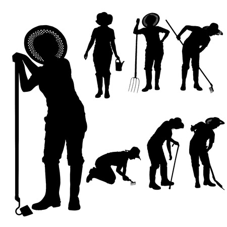 Vector silhouette of a gardener on white background.  Illusztráció