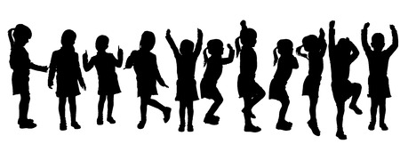dancing girl: Vector silhouette of girl on a white background.