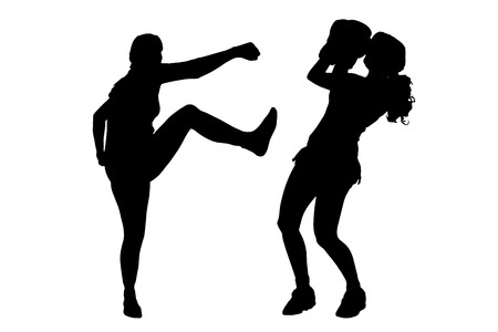 wrestle: Vector silhouette of a people who boxes.