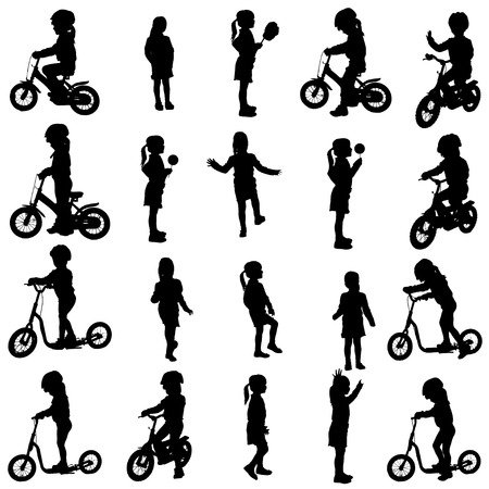 Vector silhouette of a girl who rides a bike. Vector
