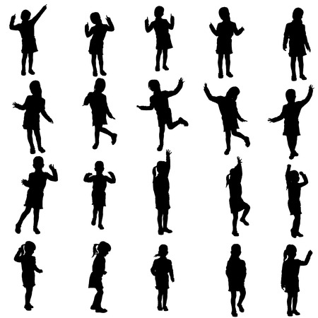 niños danzando: Vector silueta de la chica sobre un fondo blanco.