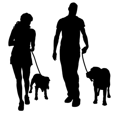 dog leash: Vector silhouette of a people with a dog.