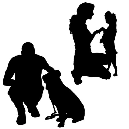 leashes: Vector silhouette of a people with a dog.