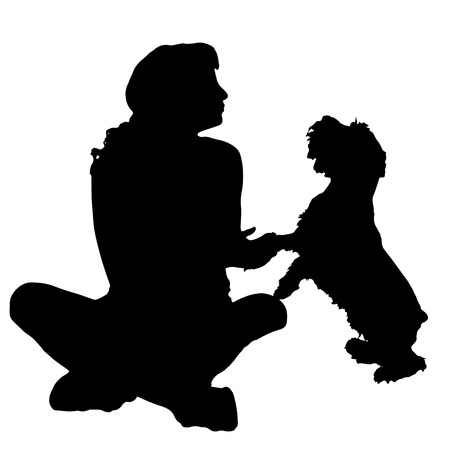 schnauzer: Vector silhouette of a woman with a dog.