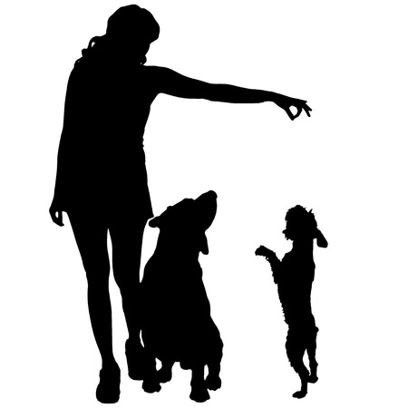 Vector silhouette of a woman with a dog. Vector