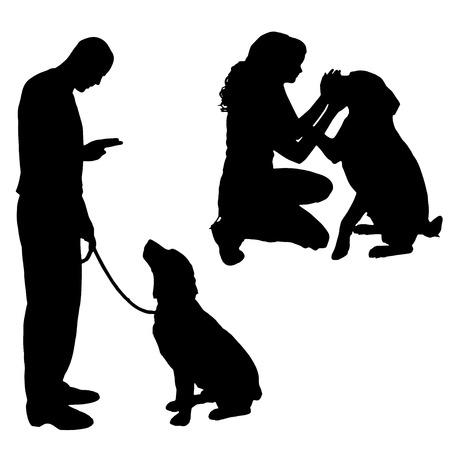 Vector silhouet van een volk met een hond. Stock Illustratie