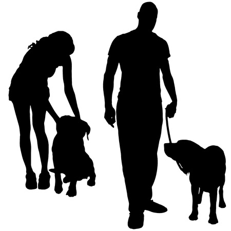 Vector silhouette of a people with a dog. Vector