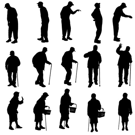 man shadow: Vector silhouette of old people on a white background.  Illustration