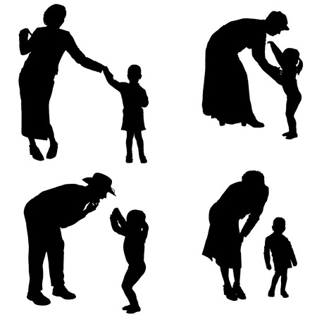 Vector silhouette of people with children in various situations. Vector