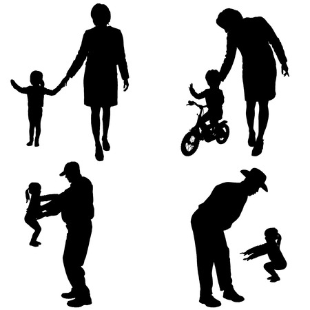 old couple walking: Vector silhouette of people with children in various situations. Illustration