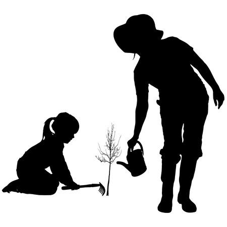 Vector Silueta De La Mujer Con Los Niños. Ilustraciones ...
