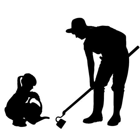 Vector silhouette della donna con i bambini.